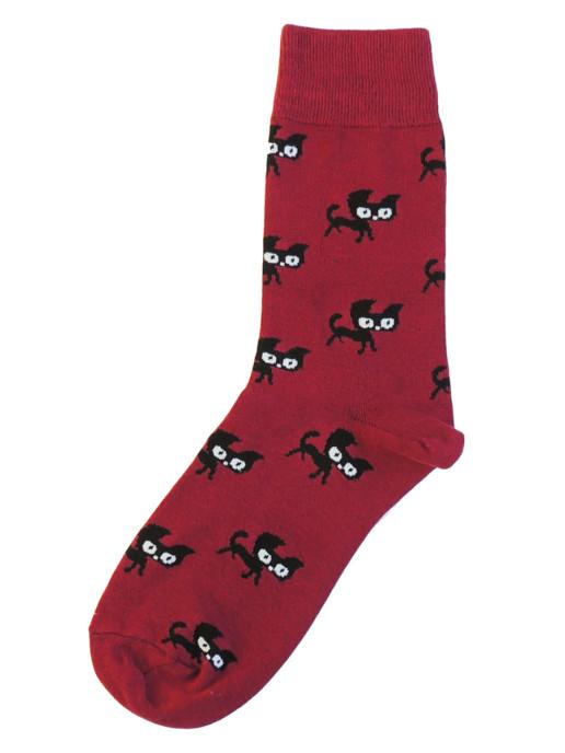 Носки с котами бордовые